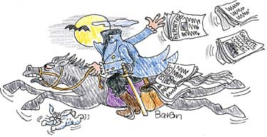 Headless Horseman With Trail of Newspapers