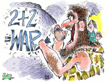 Caveman carving logic of war into rock