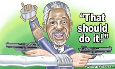 Kofi Annan proudly displaying duct tape while in front of him are two hands with their wrists wrapped with it, as they point pistols at each other
