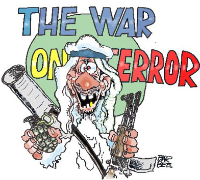 "Terrorist in front of wall that says The War On Terror, but his head is blocking the ""T"" in ""Terror,"" so the scrawl reads ""The War On Error."""