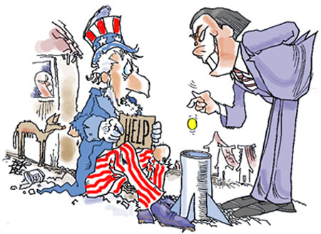 Humorous Illustration: Uncle Sam as beggar as sporty Chinese billionaire drops coin in bottom half of a missle, which is on the ground as a collection basket.
